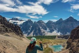Woman Overlooking Sentinel Pass. 5 Best Hikes: Banff, Alberta