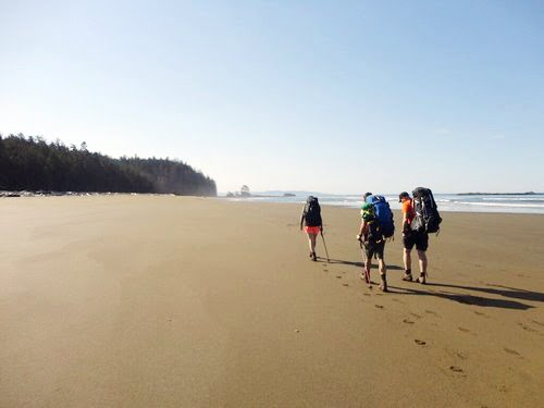 ACMG members on a beach on the West Coast Trail