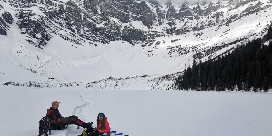 Snowshoeing in Canadian backcountry amidst mountaints