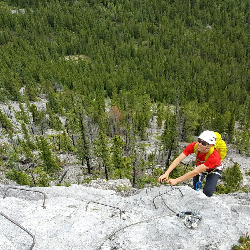 Climbing the Mt Stelfox Via Ferrata