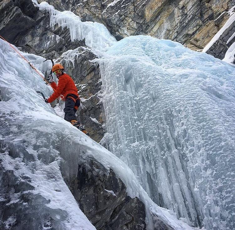 Man iceclimbing in Banff winter