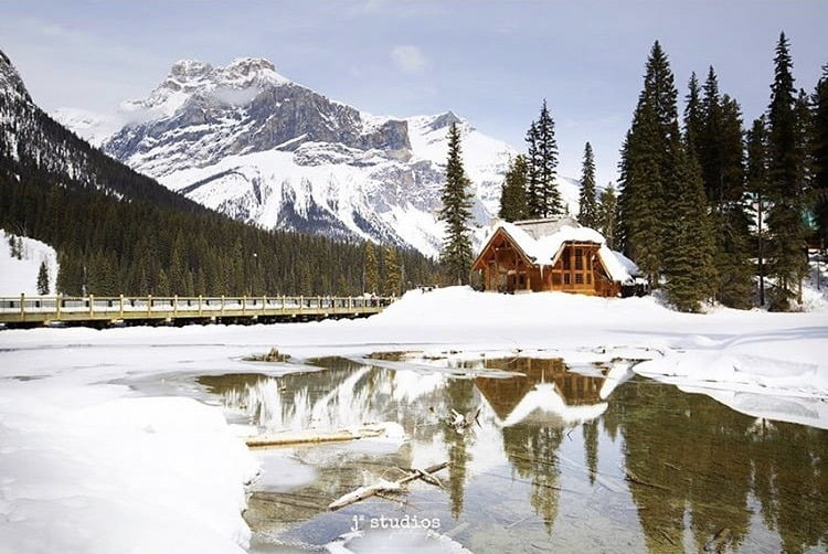 Cabin In The Mountains In Winter Near Banff Lake Louise