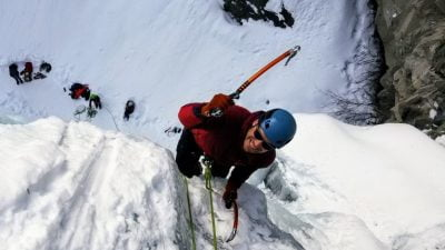 An Ice Climber Photographed From Above