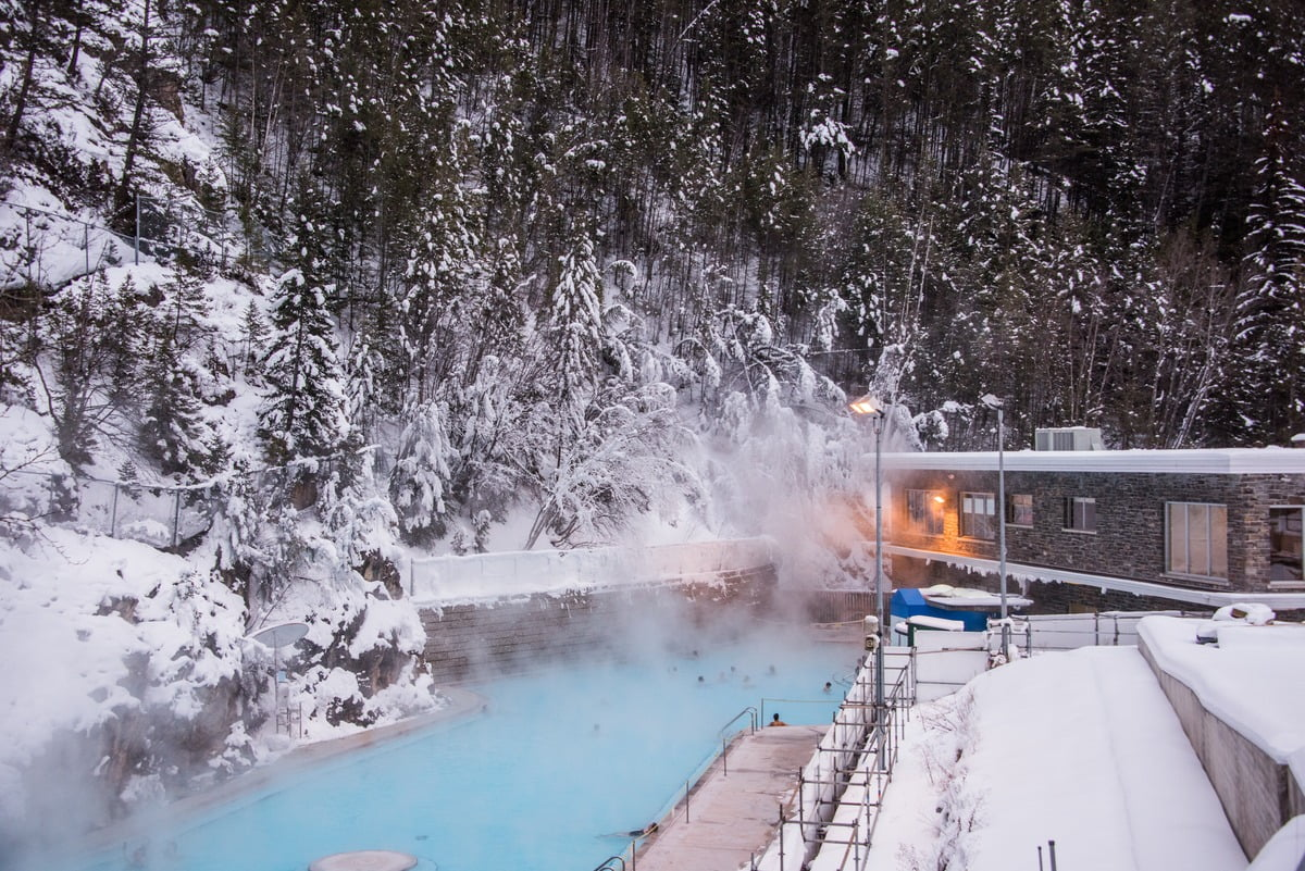 A Wintery Day At The Radium Hot Springs Pools