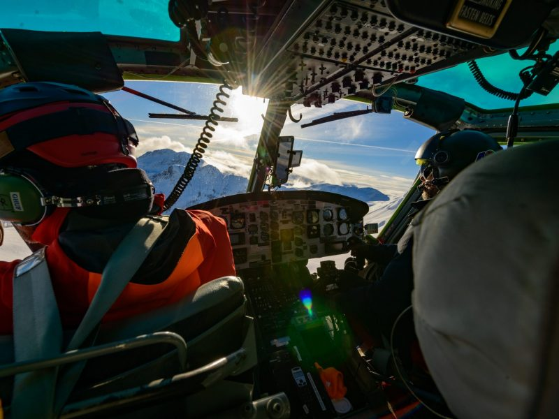 Inside A Helicopter, Looking Out Over The Selkirk Mountains In British Columbia